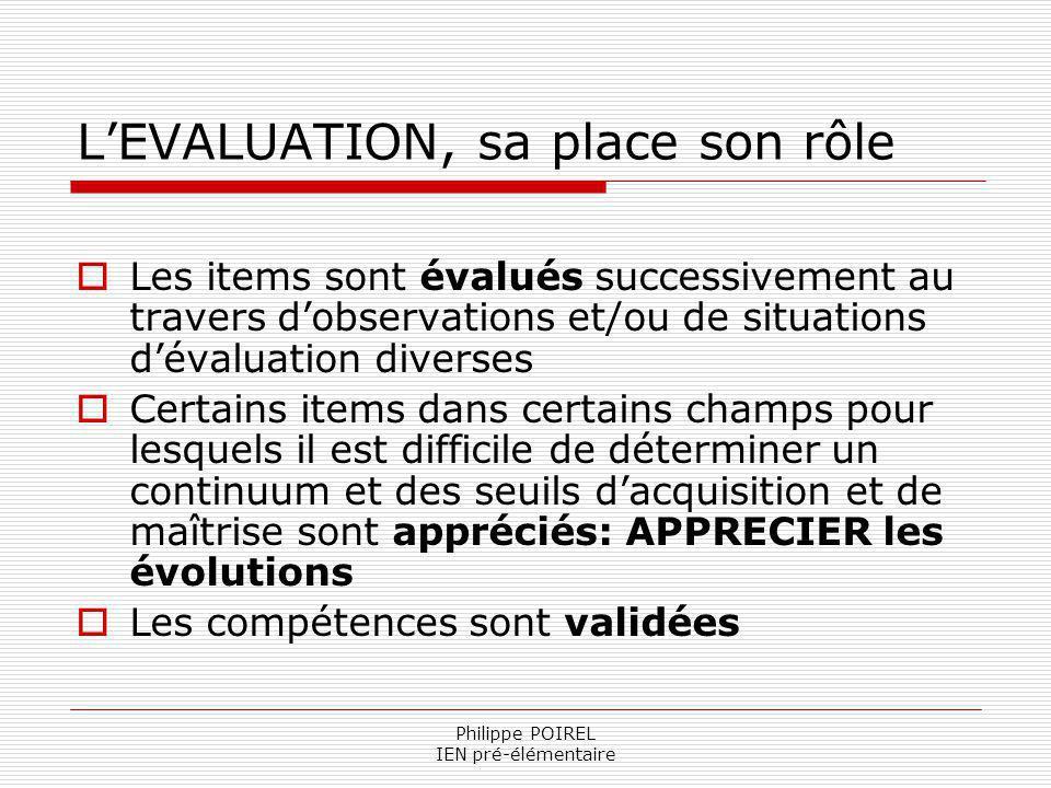 Philippe POIREL IEN pré-élémentaire LEVALUATION, sa place son rôle Les items sont évalués successivement au travers dobservations et/ou de situations