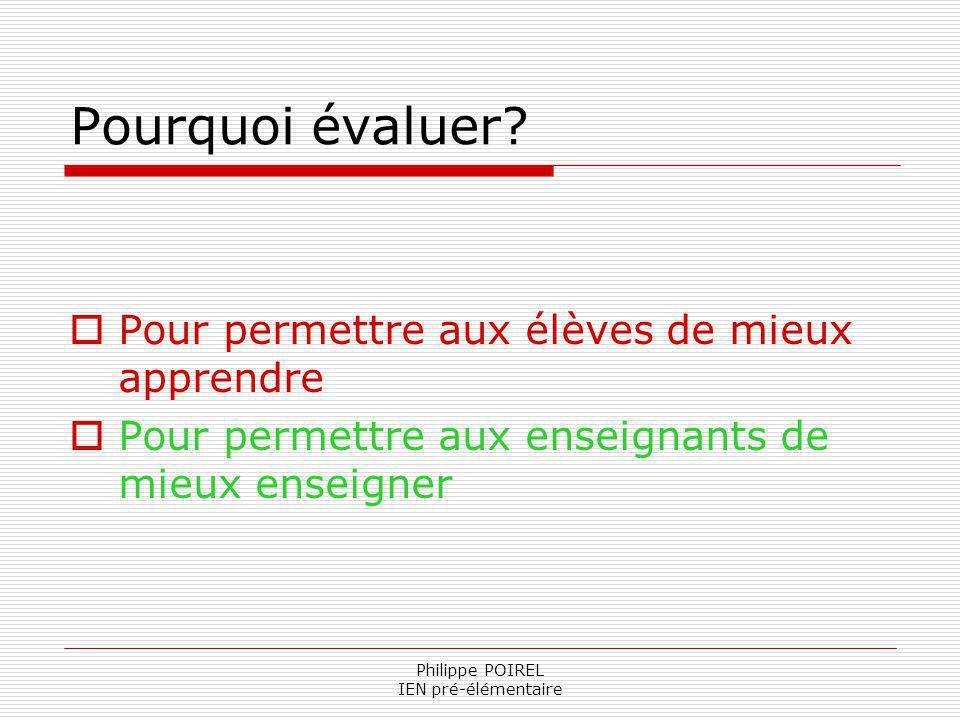 Philippe POIREL IEN pré-élémentaire Pourquoi évaluer? Pour permettre aux élèves de mieux apprendre Pour permettre aux enseignants de mieux enseigner