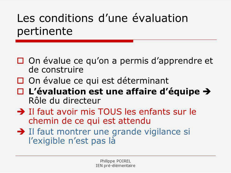Philippe POIREL IEN pré-élémentaire Les conditions dune évaluation pertinente On évalue ce quon a permis dapprendre et de construire On évalue ce qui