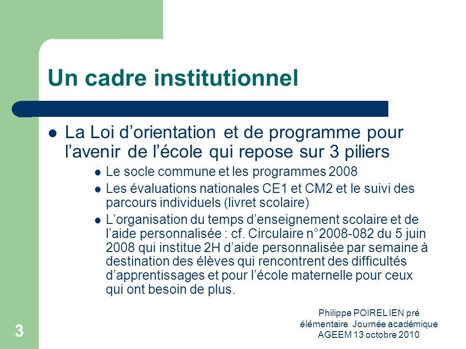 Philippe POIREL IEN pré élémentaire Journée académique AGEEM 13 octobre 2010 3 Un cadre institutionnel La Loi dorientation et de programme pour laveni