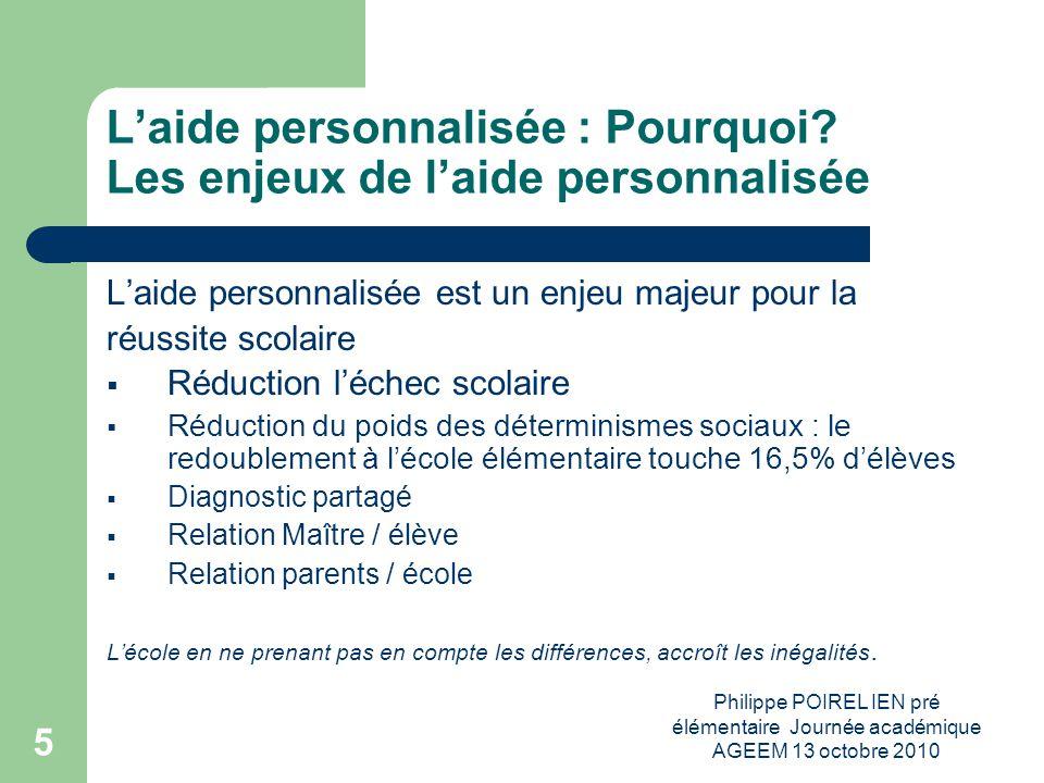 Philippe POIREL IEN pré élémentaire Journée académique AGEEM 13 octobre 2010 6 Laide personnalisée : Pour qui.