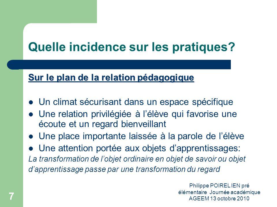 Philippe POIREL IEN pré élémentaire Journée académique AGEEM 13 octobre 2010 8 Quelle incidence sur les pratiques.