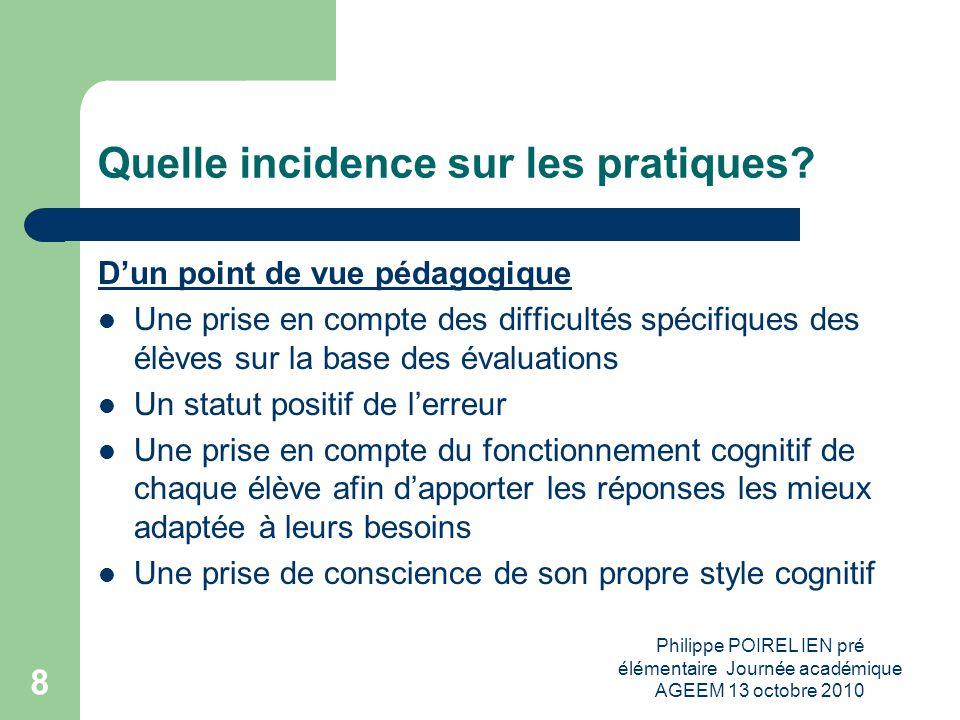 Philippe POIREL IEN pré élémentaire Journée académique AGEEM 13 octobre 2010 9 Quelle incidence sur les pratiques.