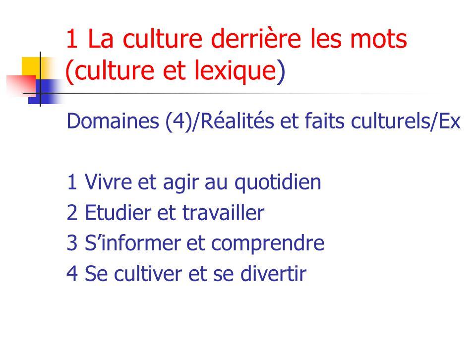 1 La culture derrière les mots (culture et lexique) Domaines (4)/Réalités et faits culturels/Ex 1 Vivre et agir au quotidien 2 Etudier et travailler 3