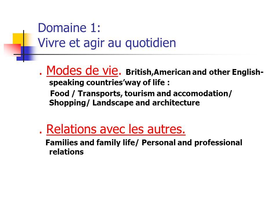 Domaine 2: Etudier et travailler Monde scolaire et universitaire : Education in Britain and in the United States.