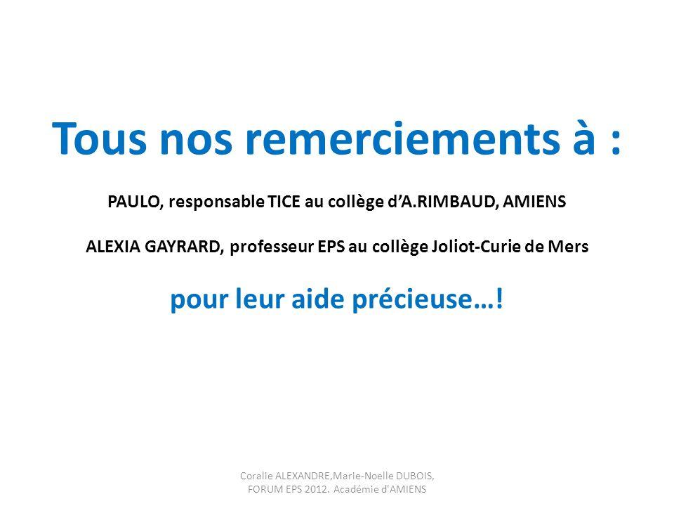 Tous nos remerciements à : PAULO, responsable TICE au collège dA.RIMBAUD, AMIENS ALEXIA GAYRARD, professeur EPS au collège Joliot-Curie de Mers pour l