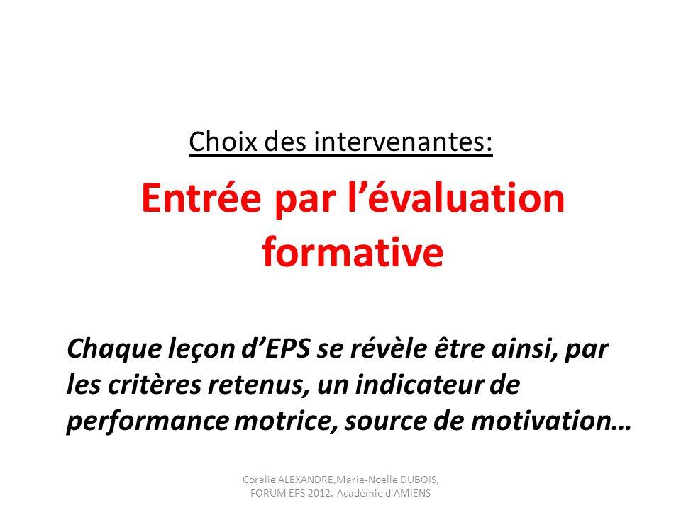 Choix des intervenantes: Entrée par lévaluation formative Chaque leçon dEPS se révèle être ainsi, par les critères retenus, un indicateur de performan