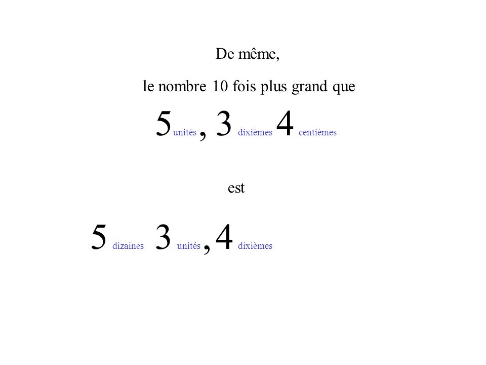 Ainsi, le nombre 10 fois plus grand que 4 un est 0 un 5 cent 3 dix 5 mille 3 cent 4 dix 0 un