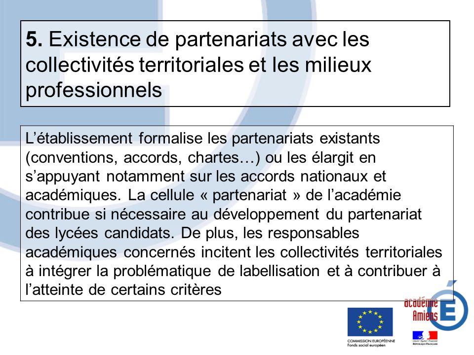 Létablissement formalise les partenariats existants (conventions, accords, chartes…) ou les élargit en sappuyant notamment sur les accords nationaux e
