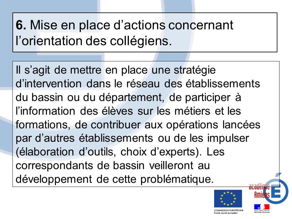 Il sagit de mettre en place une stratégie dintervention dans le réseau des établissements du bassin ou du département, de participer à linformation de