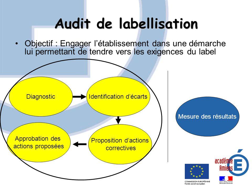 Audit de labellisation Objectif : Engager létablissement dans une démarche lui permettant de tendre vers les exigences du label DiagnosticIdentificati