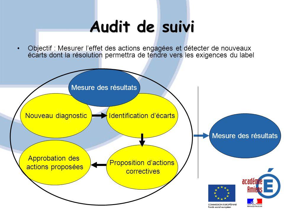 Audit de suivi Objectif : Mesurer leffet des actions engagées et détecter de nouveaux écarts dont la résolution permettra de tendre vers les exigences