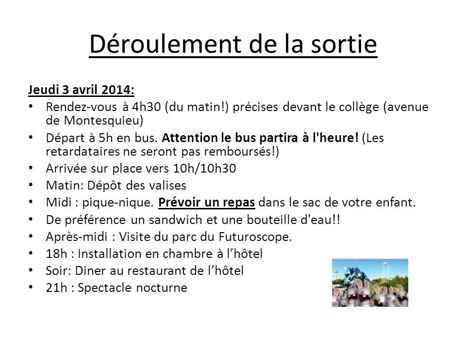 Déroulement de la sortie Jeudi 3 avril 2014: Rendez-vous à 4h30 (du matin!) précises devant le collège (avenue de Montesquieu) Départ à 5h en bus. Att