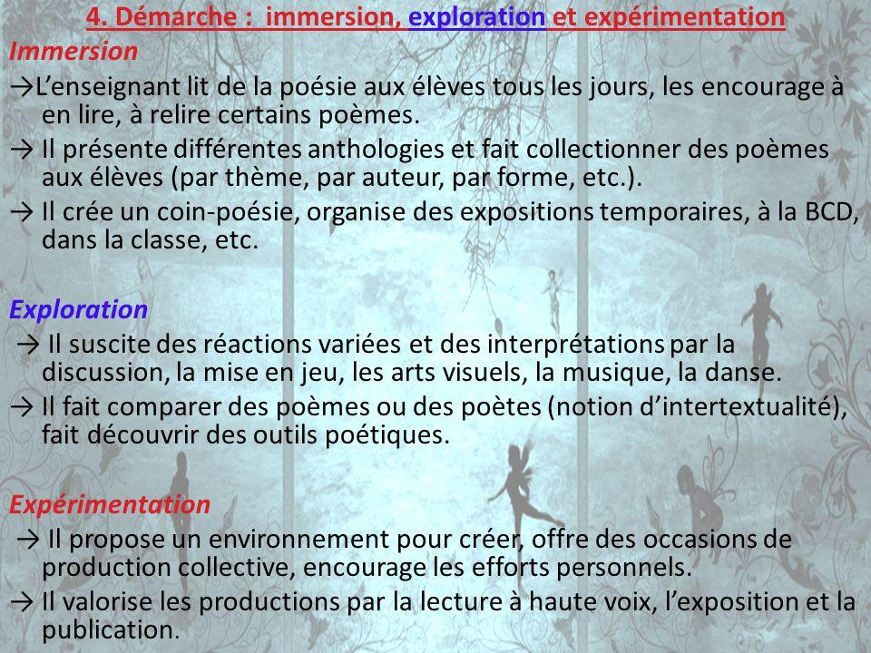 4. Démarche : immersion, exploration et expérimentation Immersion Lenseignant lit de la poésie aux élèves tous les jours, les encourage à en lire, à r