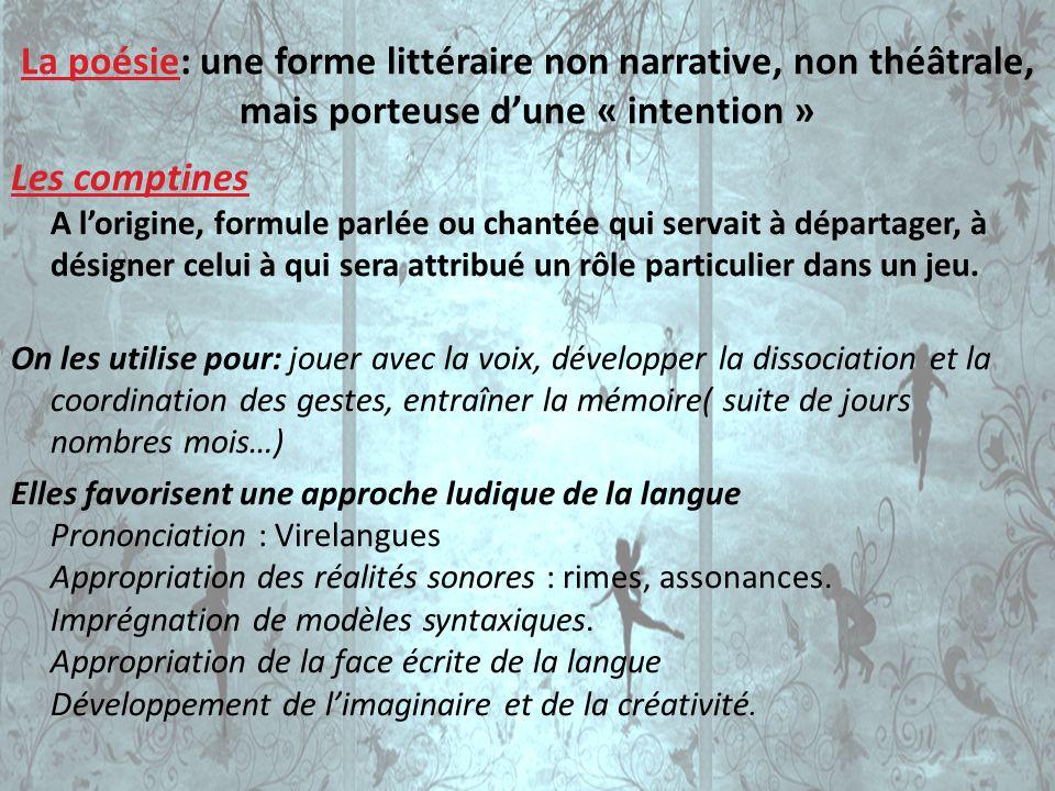 La poésie: une forme littéraire non narrative, non théâtrale, mais porteuse dune « intention » Les comptines A lorigine, formule parlée ou chantée qui