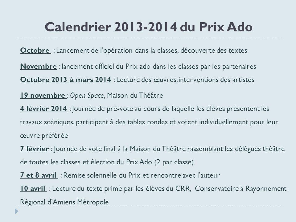 Calendrier 2013-2014 du Prix Ado Octobre : Lancement de lopération dans la classes, découverte des textes Novembre : lancement officiel du Prix ado da
