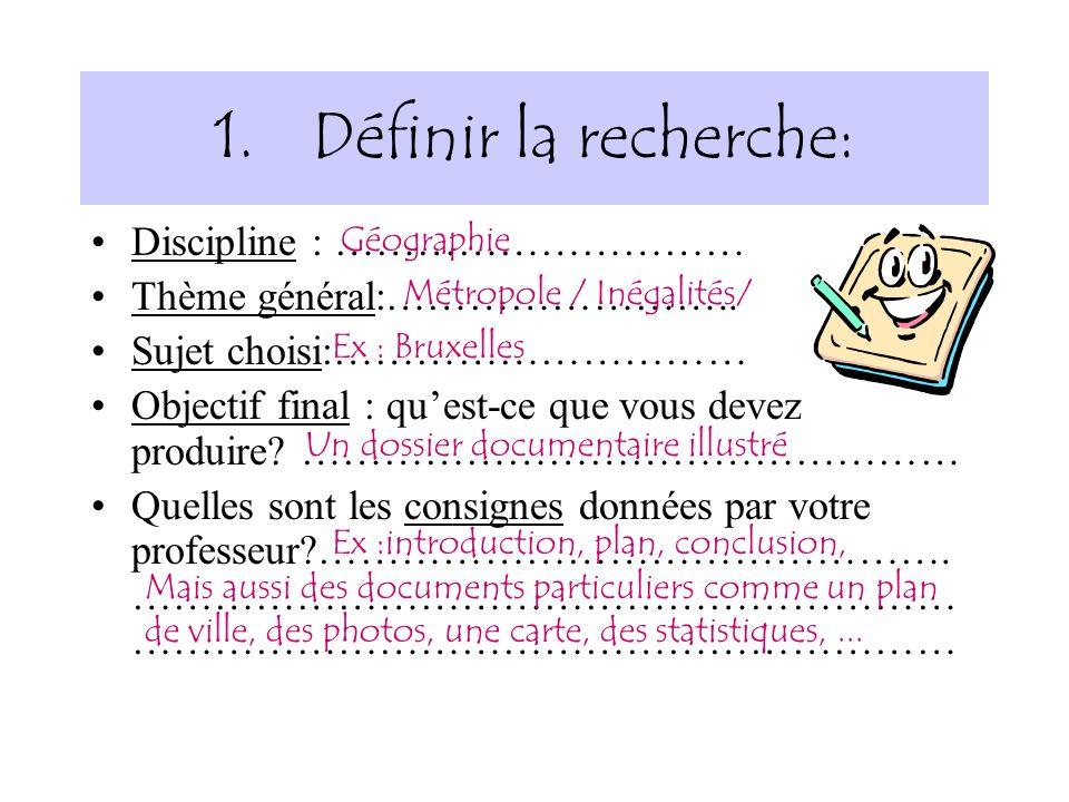 1.Définir la recherche: Discipline : ………………………… Thème général:…………………….. Sujet choisi:………………………… Objectif final : quest-ce que vous devez produire? ……