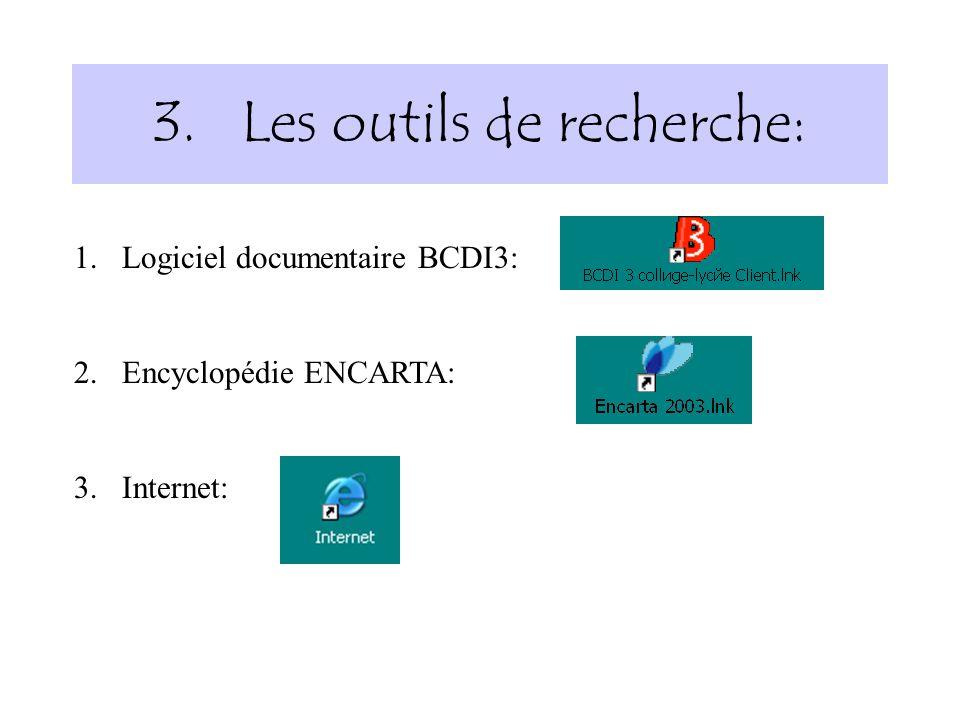 3.Les outils de recherche: 1.Logiciel documentaire BCDI3: 2.Encyclopédie ENCARTA: 3.Internet: