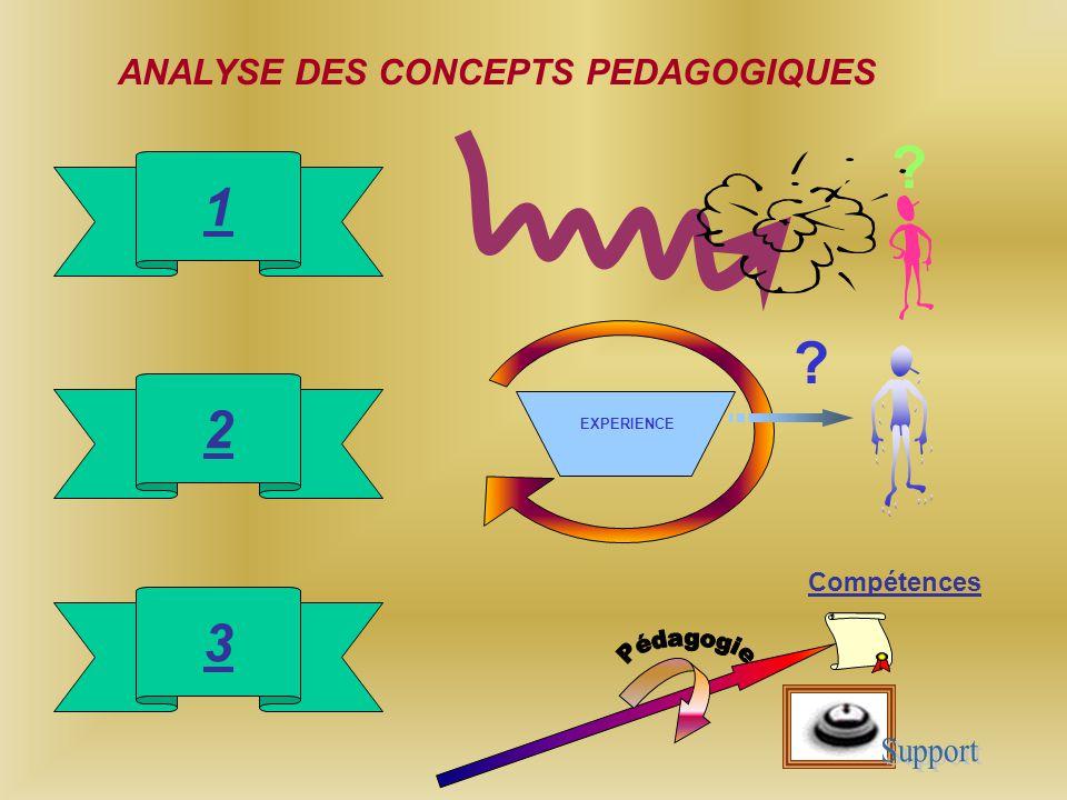ANALYSE DES CONCEPTS PEDAGOGIQUES 1 2 3 EXPERIENCE Compétences ? ?