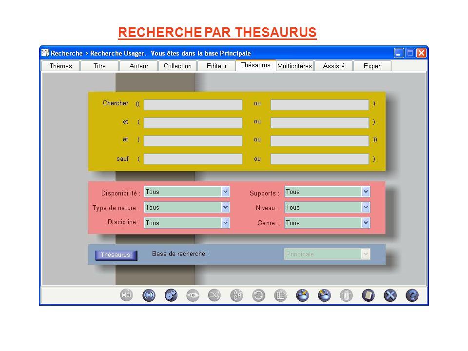RECHERCHE PAR THESAURUS