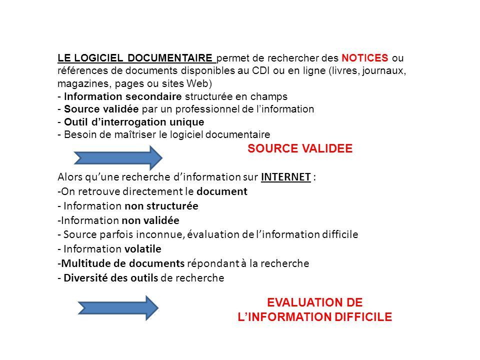 LE LOGICIEL DOCUMENTAIRE permet de rechercher des NOTICES ou références de documents disponibles au CDI ou en ligne (livres, journaux, magazines, page
