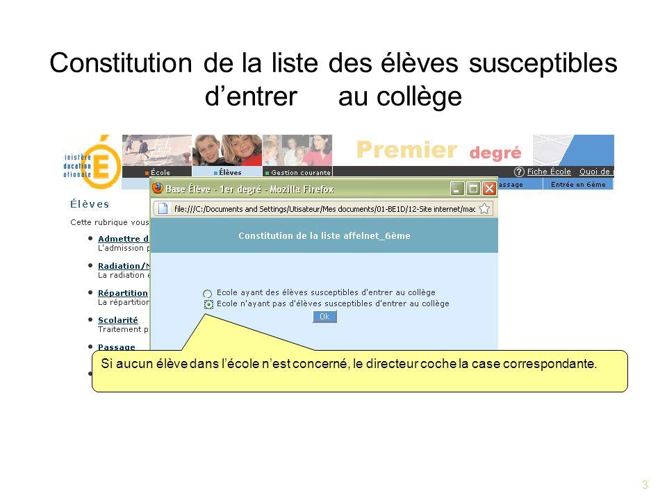 3 Constitution de la liste des élèves susceptibles dentrer au collège Si aucun élève dans lécole nest concerné, le directeur coche la case correspondante.