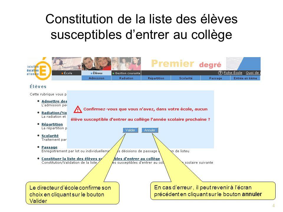 4 Constitution de la liste des élèves susceptibles dentrer au collège Le directeur décole confirme son choix en cliquant sur le bouton Valider En cas