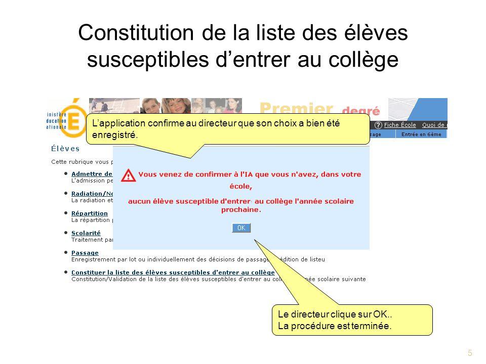 5 Constitution de la liste des élèves susceptibles dentrer au collège Le directeur clique sur OK.. La procédure est terminée. Lapplication confirme au