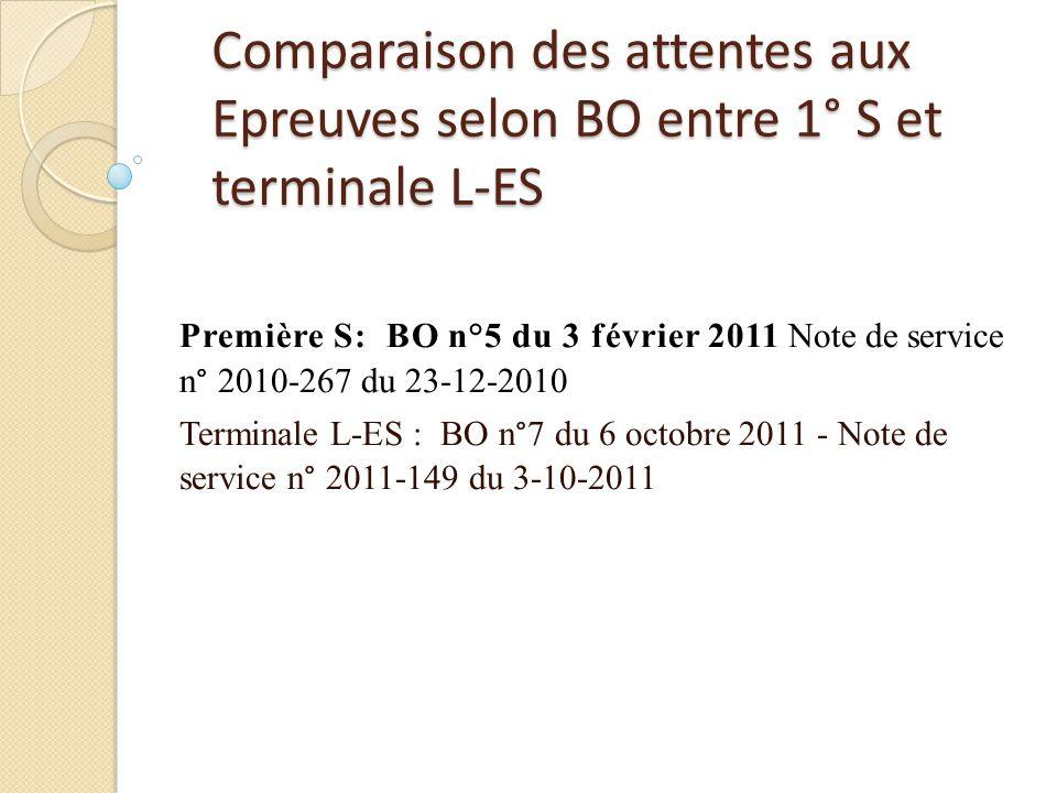 Comparaison des attentes aux Epreuves selon BO entre 1° S et terminale L-ES Première S: BO n°5 du 3 février 2011 Note de service n° 2010-267 du 23-12-