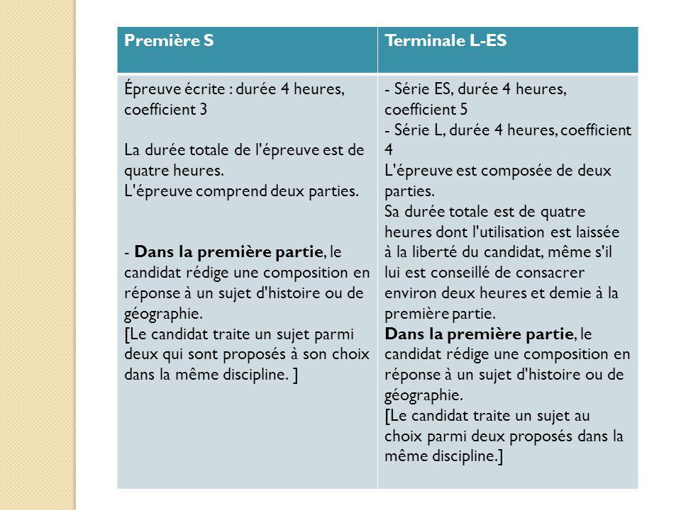 Première STerminale L-ES Épreuve écrite : durée 4 heures, coefficient 3 La durée totale de l'épreuve est de quatre heures. L'épreuve comprend deux par
