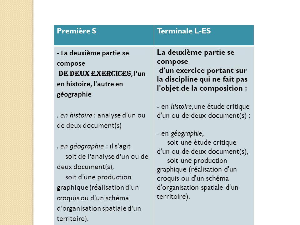 Première STerminale L-ES - La deuxième partie se compose de deux exercices, l'un en histoire, l'autre en géographie. en histoire : analyse d'un ou de