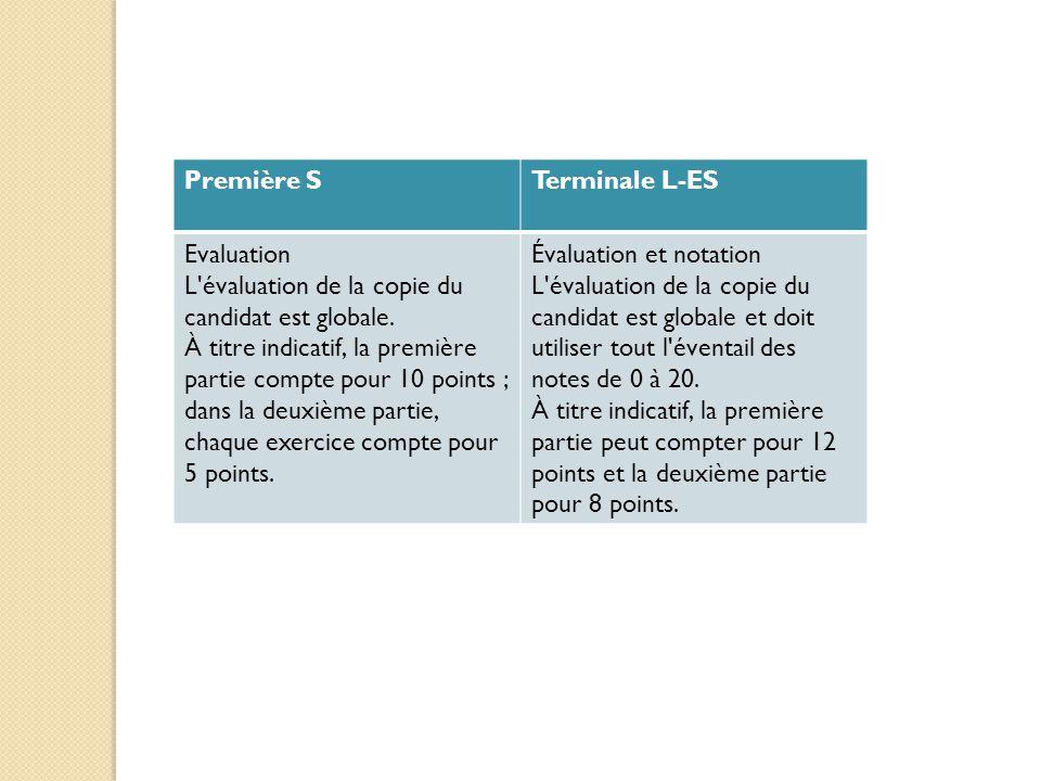 Première STerminale L-ES Evaluation L'évaluation de la copie du candidat est globale. À titre indicatif, la première partie compte pour 10 points ; da