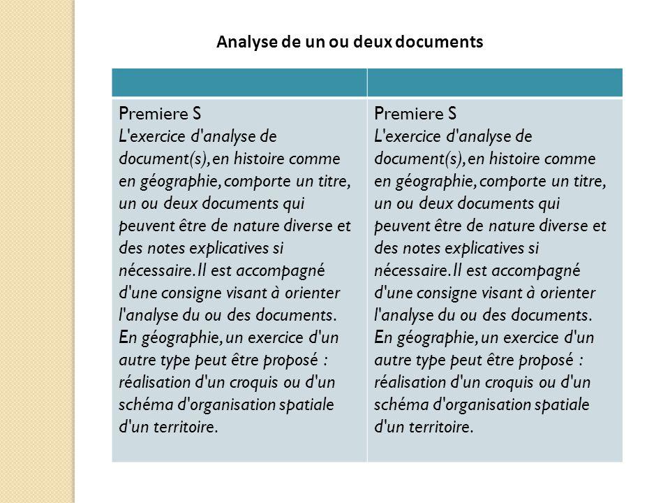 Premiere S L'exercice d'analyse de document(s), en histoire comme en géographie, comporte un titre, un ou deux documents qui peuvent être de nature di