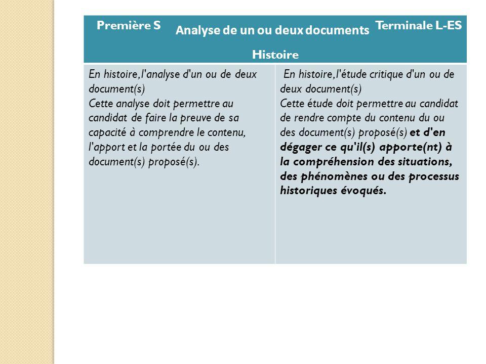 Première S Terminale L-ES Histoire En histoire, l'analyse d'un ou de deux document(s) Cette analyse doit permettre au candidat de faire la preuve de s