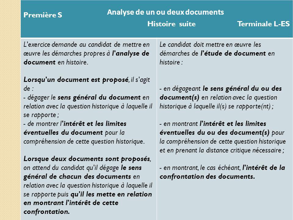 Première S Histoire suite Terminale L-ES L'exercice demande au candidat de mettre en œuvre les démarches propres à l'analyse de document en histoire.