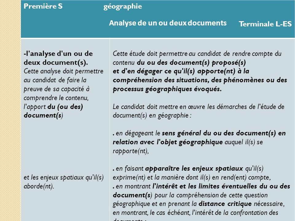 Première S géographie Terminale L-ES -l'analyse d'un ou de deux document(s). Cette analyse doit permettre au candidat de faire la preuve de sa capacit