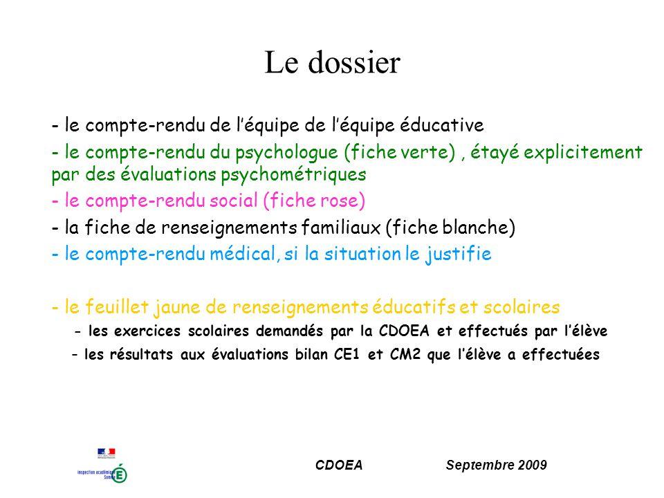 CDOEA Septembre 2009 LA CDOEA oriente lélève vers les enseignements adaptés du second degré 1) Information des parents et de lécole de la proposition dorientation Les parents disposent dun délai de 15 jours pour accepter ou refuser la proposition dorientation.