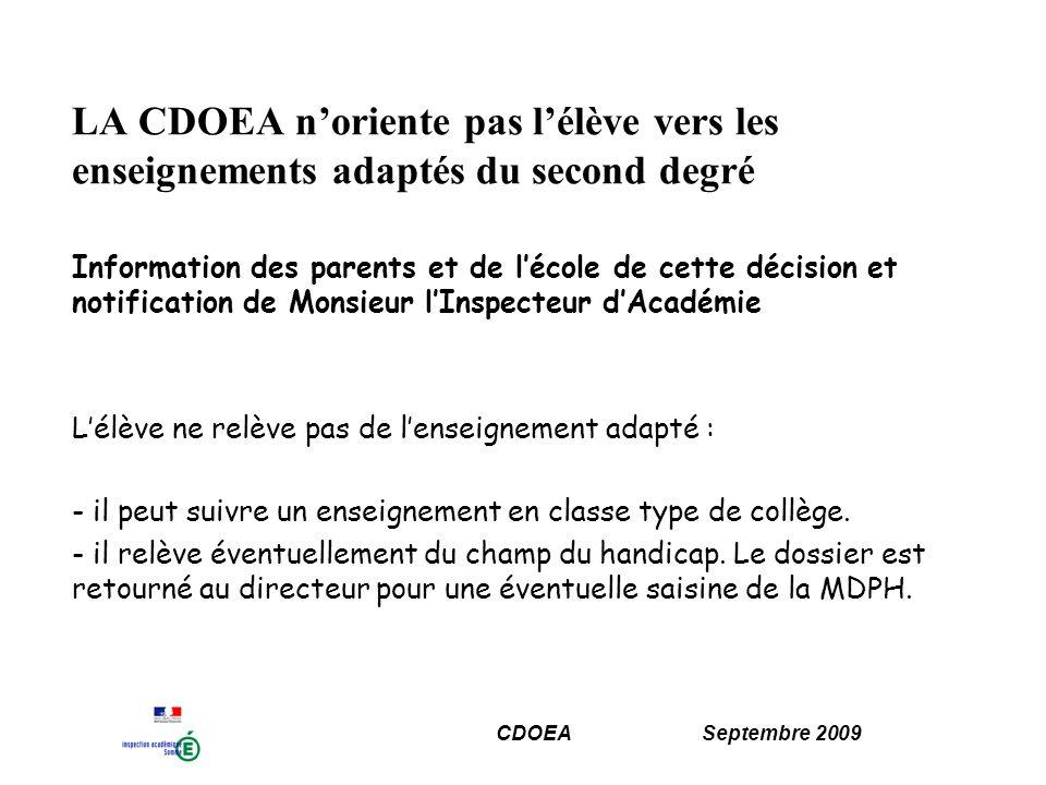 CDOEA Septembre 2009