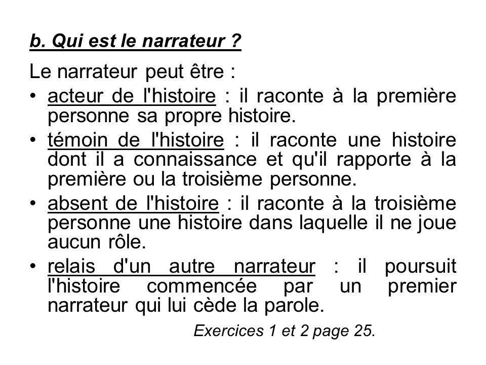b. Qui est le narrateur ? Le narrateur peut être : acteur de l'histoire : il raconte à la première personne sa propre histoire. témoin de l'histoire :