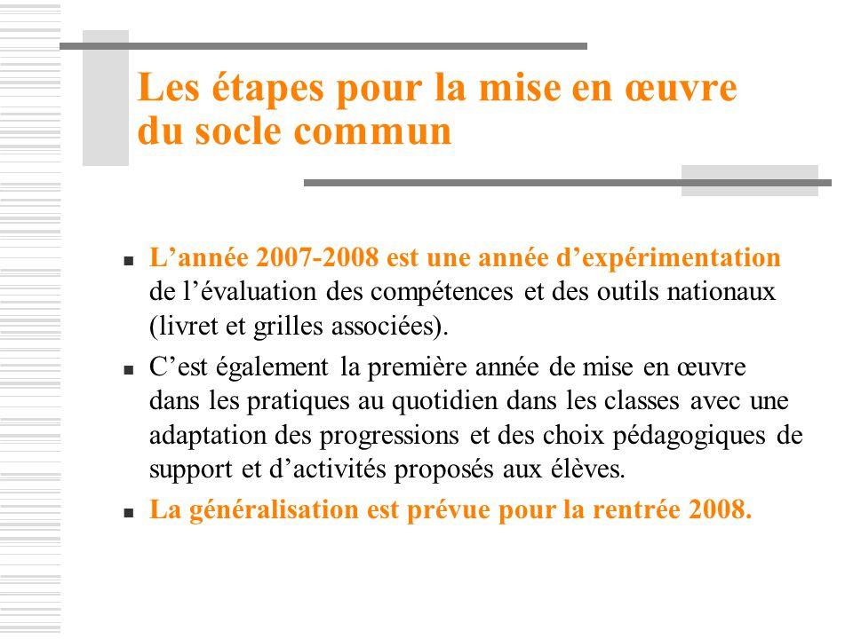 Les étapes pour la mise en œuvre du socle commun Lannée 2007-2008 est une année dexpérimentation de lévaluation des compétences et des outils nationau
