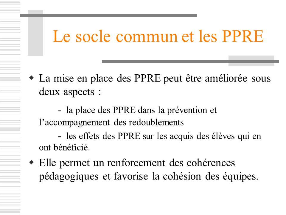 Le socle commun et les PPRE La mise en place des PPRE peut être améliorée sous deux aspects : - la place des PPRE dans la prévention et laccompagnemen