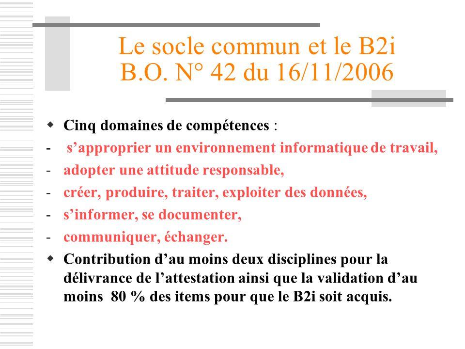 Le socle commun et le B2i B.O. N° 42 du 16/11/2006 Cinq domaines de compétences : - sapproprier un environnement informatique de travail, -adopter une