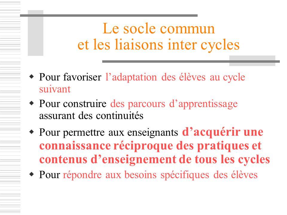 Le socle commun et les liaisons inter cycles Pour favoriser ladaptation des élèves au cycle suivant Pour construire des parcours dapprentissage assura