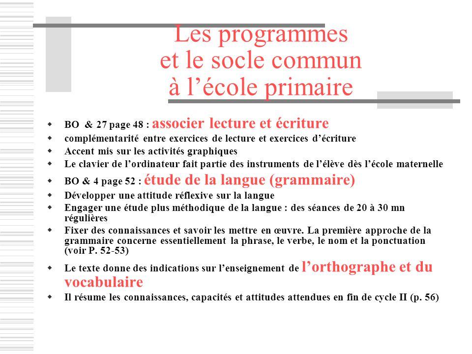 Les programmes et le socle commun à lécole primaire BO & 27 page 48 : associer lecture et écriture complémentarité entre exercices de lecture et exerc