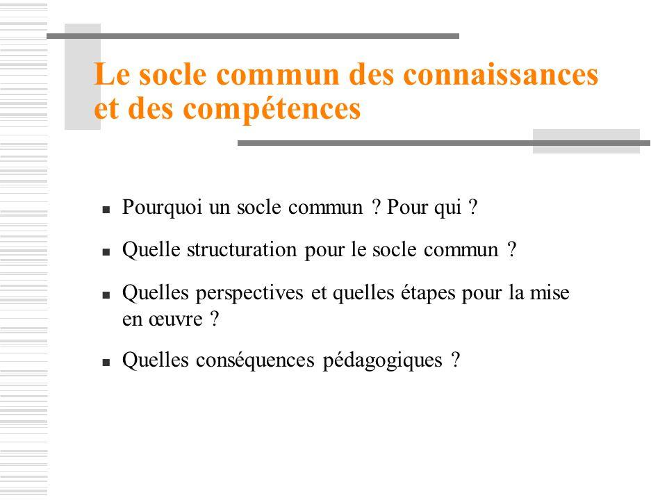 Le socle commun des connaissances et des compétences Pourquoi un socle commun ? Pour qui ? Quelle structuration pour le socle commun ? Quelles perspec