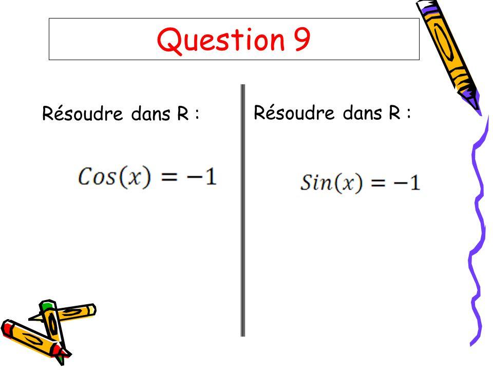Question 9 Résoudre dans R :