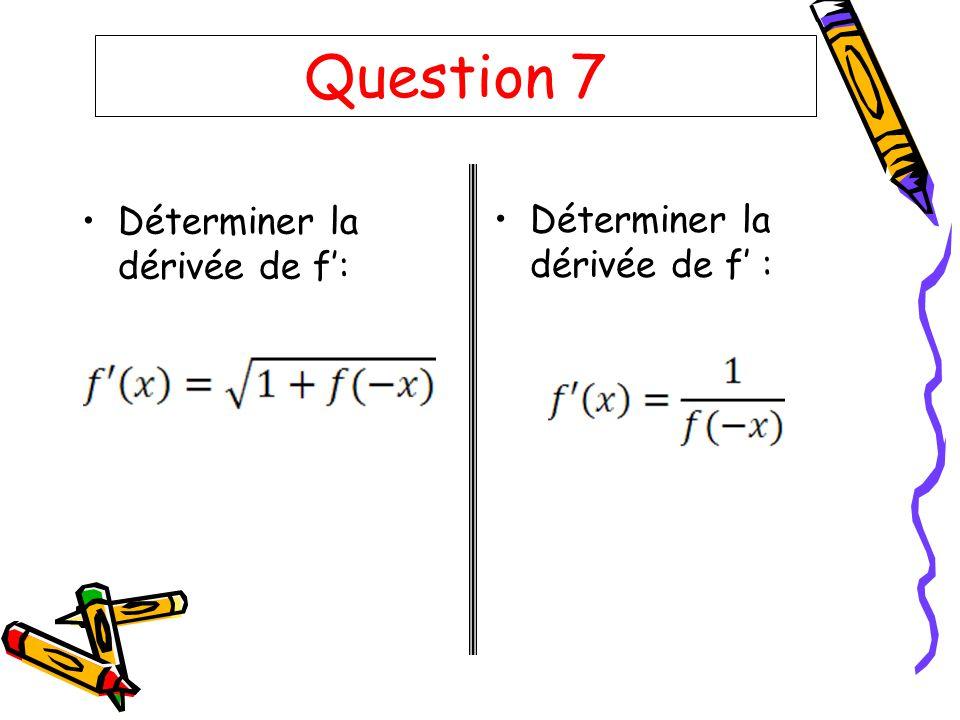 Question 7 Déterminer la dérivée de f: