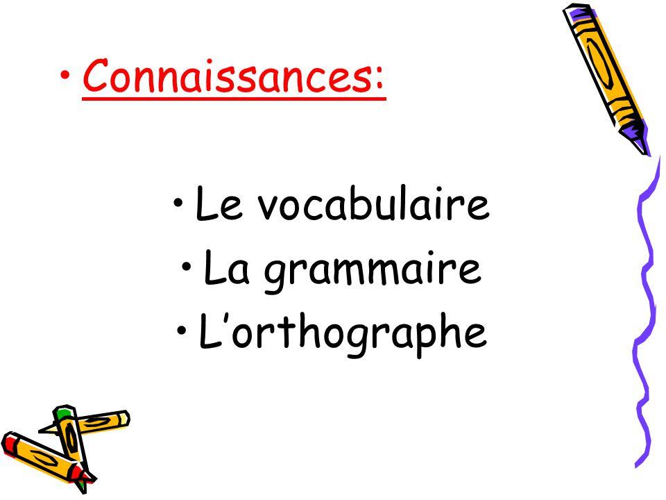 Connaissances: Le vocabulaire La grammaire Lorthographe