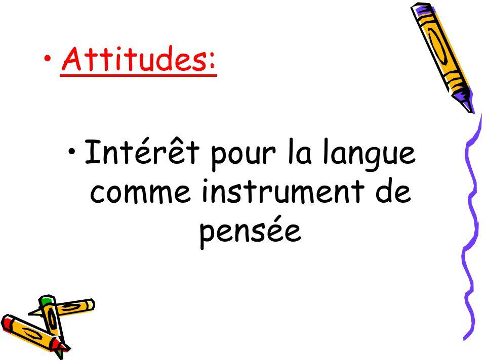 Attitudes: Intérêt pour la langue comme instrument de pensée