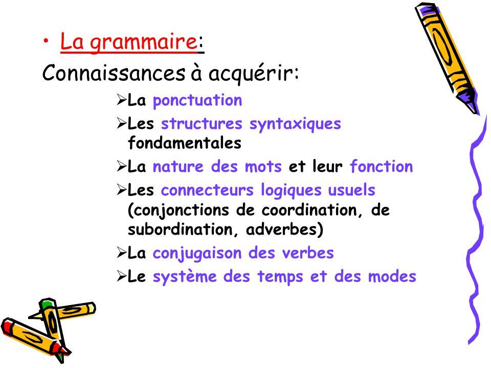 La grammaire: Connaissances à acquérir: La ponctuation Les structures syntaxiques fondamentales La nature des mots et leur fonction Les connecteurs lo